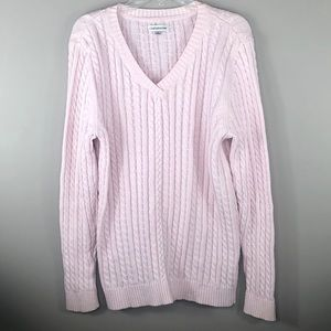 Croft & Barrow Light Pink VNeck Cable Knit Sweater
